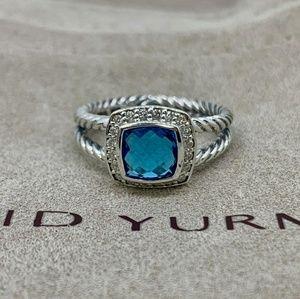 David Yurman Petite Albion Ring Blue Topaz Diamond